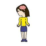 mulher inteligente dos desenhos animados cômicos que shrugging ombros ilustração do vetor