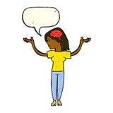mulher inteligente dos desenhos animados com bolha do discurso ilustração stock