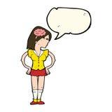 mulher inteligente dos desenhos animados com bolha do discurso ilustração do vetor