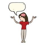 mulher inteligente dos desenhos animados com bolha do discurso ilustração royalty free