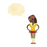 mulher inteligente dos desenhos animados com bolha do pensamento ilustração royalty free