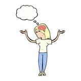 mulher inteligente dos desenhos animados com bolha do pensamento ilustração stock