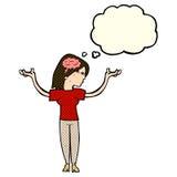 mulher inteligente dos desenhos animados com bolha do pensamento ilustração do vetor