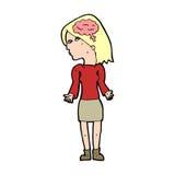 mulher inteligente dos desenhos animados que shrugging ombros ilustração do vetor