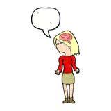 mulher inteligente dos desenhos animados que shrugging ombros com bolha do discurso ilustração royalty free