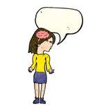 mulher inteligente dos desenhos animados que shrugging ombros com bolha do discurso ilustração stock