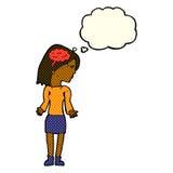mulher inteligente dos desenhos animados que shrugging ombros com bolha do pensamento ilustração stock