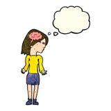 mulher inteligente dos desenhos animados que shrugging ombros com bolha do pensamento ilustração royalty free