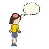 mulher inteligente dos desenhos animados que shrugging ombros com bolha do pensamento ilustração do vetor