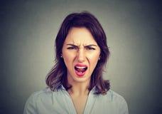 Mulher irritada irritada que grita Emoções humanas negativas foto de stock royalty free