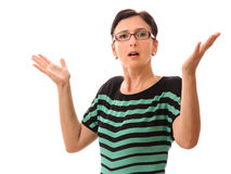 Mulher irritada isolada no branco Foto de Stock Royalty Free