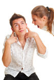Mulher irritada que grita no homem Fotos de Stock