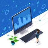 A mulher isométrica, senhora do negócio controla uma tela virtual, um painel de plasma, uma mulher inteligente aprecia altamente  ilustração stock