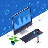 A mulher isométrica, uma senhora à moda do negócio controla uma tela virtual, um painel de plasma, uma mulher inteligente usa alt ilustração stock