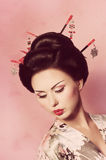 Mulher japonesa da gueixa Fotografia de Stock