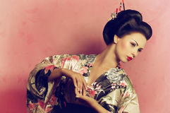 Mulher japonesa da gueixa Imagens de Stock
