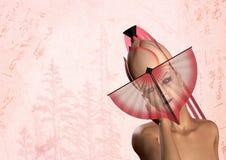 Mulher japonesa da gueixa com ventilador cor-de-rosa Foto de Stock Royalty Free
