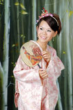 Mulher japonesa no traje tradicional Fotografia de Stock