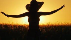 a mulher 4k bonita está no campo durante o nascer do sol e levanta suas mãos acima video estoque