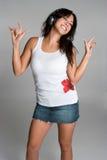 Mulher latino-americano dos auscultadores fotografia de stock royalty free