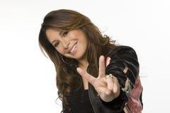 Mulher latino-americano feliz nova que ri e que sorri Foto de Stock