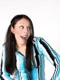Mulher latino-americano nova surpreendida foto de stock