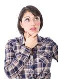 A mulher latino-americano pensa imagem de stock