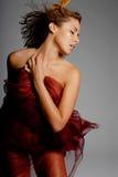 Mulher latino-americano 'sexy' na seda fotos de stock royalty free