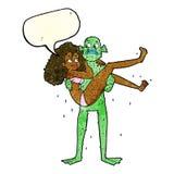 mulher levando do monstro do pântano dos desenhos animados no biquini com bubbl do discurso Imagens de Stock Royalty Free