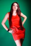 Mulher longa do cabelo no vestido vermelho Imagens de Stock Royalty Free