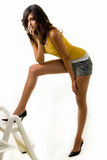 Mulher longa do pé fotos de stock