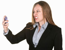 Mulher louca com telefone Foto de Stock Royalty Free