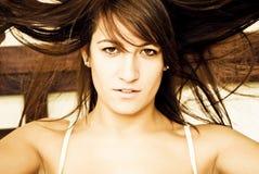 Mulher louca do cabelo Fotos de Stock Royalty Free