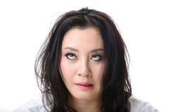 Mulher louca eyed estrabismo Fotos de Stock Royalty Free
