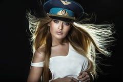 Mulher loura atrativa das FO do retrato foto de stock royalty free
