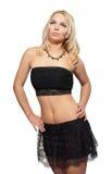 Mulher loura atrativa nova no estúdio sobre o branco fotografia de stock royalty free