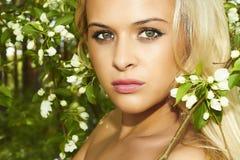 Mulher loura bonita com as flores da árvore de maçã. verão Imagem de Stock Royalty Free