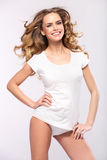 Mulher loura bonita com sorriso bonito Foto de Stock Royalty Free