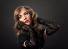 Retrato louro do vintage da mulher Imagem de Stock