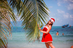 A mulher loura bonito no vestido, em óculos de sol e no chapéu vermelhos de Santa está na palmeira na praia tropical exótica Conc Imagens de Stock