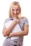Mulher loura com almofada de nota. Isolado. #2 Fotografia de Stock Royalty Free