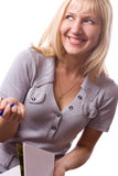 Mulher loura com almofada de nota. Isolado. #3 Imagem de Stock