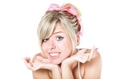 Mulher loura com curva cor-de-rosa foto de stock royalty free