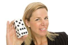 Mulher loura com dados Imagens de Stock