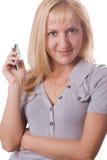 Mulher loura com o telefone de pilha isolado. #5 Fotos de Stock