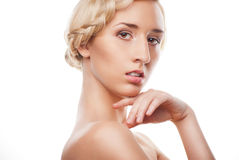 Mulher loura com penteado com pigtail Fotos de Stock