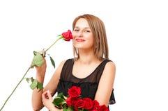 Mulher loura com rosas fotografia de stock