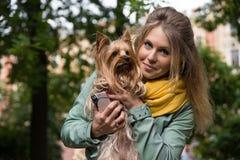 Mulher loura de sorriso nova no parque da cidade O yorkshire terrier pequeno está em suas mãos Imagem de Stock Royalty Free