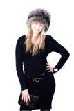 Mulher loura do russo no chapéu forrado a pele Foto de Stock Royalty Free
