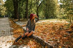 Mulher loura elegante no vestido cinzento da malha e no chapéu vermelho que sentam-se em t Imagem de Stock Royalty Free